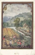CD02.Vintage Postcard.August from a Book of Hours by Simon Benninck.V&A Museum