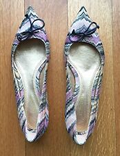 MISSONI flats Pointed Ballet Shoes Chevron Knit With Bow Sz 38