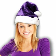 Christmas Santa Claus Plush Purple Soft Fuzzy Hat. One Size Fits Most.