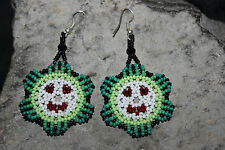 Huichol Peyote Beaded Earring III-Green