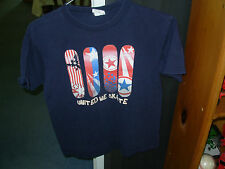 2 navy childrens tee shirts with the same pattern on the front 1 size M & 1 L