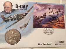 D-Day 50th Anniversary 1994 Guernsey Coin First Day Cover Incl £2 Coin & Stamp