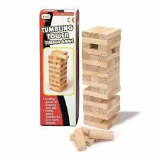MINI WOOD TUMBLING STACKING TOWER WOODEN BLOCK BUILDING GAME 42 PIECES 16 CM