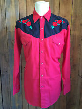 vtg WESTERN rockabilly COWBOY shirt LARGE 46 chest BIKER flashy HIPSTER rockstar