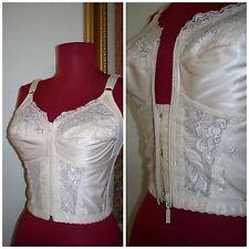 """Women's Vintage """"Joline """" Peach Beige Lace Zip Up Bra Bustier Lingerie 36 B"""