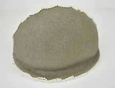 Estelle Allardale Beverly Hills Brown Wool Felt White Beaded Calot Hat 1950s