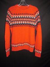 H&M L.O.G.G. Orange Navy Crew Neck Wool Blend Ski Sweater Women's Men's Med  H7