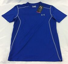 Under Armour MEN'S Athletic Shirt Fitted Heat Gear Blue Mesh Size Large