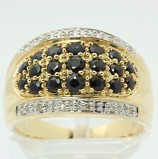 ♦♦ breiter Saphir Ring in 14kt 585 Gelb Gold mit Diamanten Diamantring Safir ♦♦