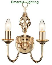 CLASSIC BARLEY TWIST DOUBLE TWIN 2 ARM WALL LIGHT FRENCH GOLD EFFECT