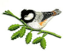 SWEET CHICKADEE ON A BRANCH (LEFT) IRON ON APPLIQUE