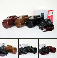 leather case bag for Canon EOS 100D REBEL SL1 SLR camera coffee  brown black NEW