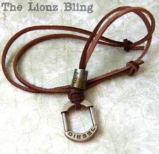 Urban Vintage style Genuine Leather Slipknot Necklace with DIESEL Pendant
