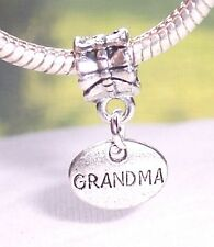 Grandma Oval Medallion Grandmother Small Dangle Bead for European Charm Bracelet