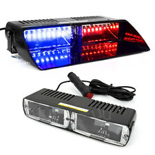 Car 16 LED Red/Blue Police Strobe Flash Light Dash Emergency Flashing Light