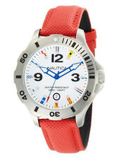 NAUTICA BFD 101 Red Diver Flag Sports Watch N12567G NEW