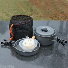 8pcs Outdoor Camping Cookware Cooking Picnic Bowl Pot Pan Set Hiking Portable