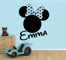 Minnie Mouse Wall Decal Custom Name Vinyl Sticker Walt Disney Kds Room 33(nse)