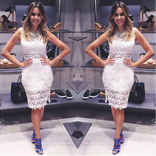 Summer Sexy Sleeveless Lace Crochet Bodycon Prom Ball Gown Evening Party Dress