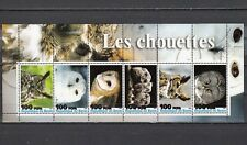 """ Benin, 2003 Cinderella issue. Owls on a sheet of 6."