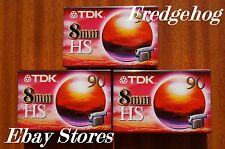 3 x QUALITY TDK P5-90HS(High Standard) 8mm/ Hi8 VIDEO CAMCORDER TAPES/ CASSETTES