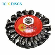 "10 Pack 4"" Twist Knot Wire Brush / Wheel 115mm For Angle Grinder Sanding M14"