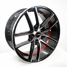 4 GWG Wheels 18 inch Black Red UnderCut Rims fits 5x110 ET40 SAAB 9-3 AERO 2004