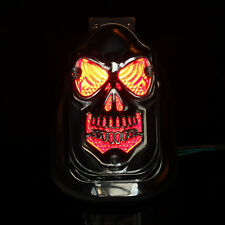 Universal  Motorcycle Quad ATV SKULL HEAD Tail Light Side Mount Plate For Harley