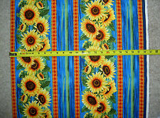 Sunflower sunflowers sun flower flowers strip seeds C 4345 TT blue fabric