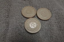 3 Poker Chips, White w/ Star in middle, Vintage Clay