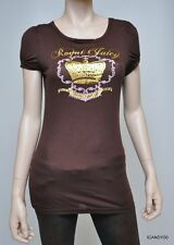 Nwt $68 JUICY COUTURE Puff Sleeve T-Shirt Tee Top Tunic V-Neck ~Brown *P