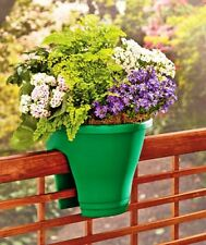 TWO Green  Deck Rail Planter Porch Fence Flower Pot Outdoor Home Decor. New