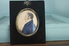 Excellent Georgian Miniature Portrait Profile of Man Dated1827