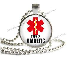 Type 2 Diabetic Medical Alert Necklace Glass Top Pendant Silver Setting & Chain
