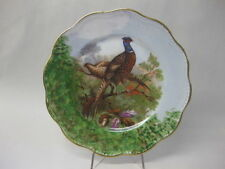 Vintage Limoges Porcelain Cabinet Plate ~ Pheasants in Oak Tree Scene ~ Signed