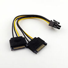 20cm Dual SATA 15 Pin Male to PCI-E 6 Pin Female Video Card Power Adapter Cable