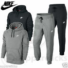 Nike Mens Fleece Lined Hooded Tracksuit Pull Over Jumper Pants Jogger Black Grey
