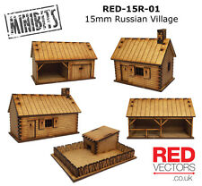 RED-15R-01 - 15mm Wargames - Russian Village (5 buildings)