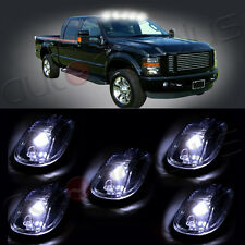 5pcs Smoke Lens + 5x T10 White LED Roof Cab Maker Running Lights For Dodge Ram