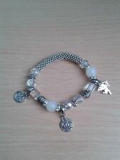 Lady's Stretchy Silver Coloured Charm Bracelet with Glass and Metal Beads