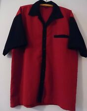 Bowling Shirt,Men's L, Red/Black,Polyester, Classic,Rockabilly, Loose Fit