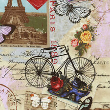 Timeless Treasures Paris Eiffel Tower Script Postage Collage Fabric in Antique