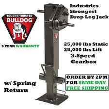 BULLDOG 2-SPEED SQUARE TRAILER JACK 25,000 lbs LIFT DROP LEG W/ SPRING RETURN