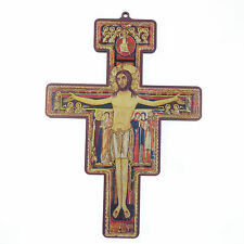 14.5cm wooden St. Francis of Assisi Christian cross crucifix wood
