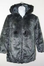 NEW Roamans Womens Faux Fur Gray Black Hooded Winter Coat Jacket Machine Wash