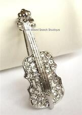 Silver Plated Crystal Violin Pin Brooch Fiddle Music Teacher Gift USA Seller