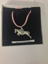Showjumper PP-E01 Horse Motif Pewter  PENDENT ON A PINK CORD Necklace