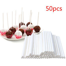 50Pcs Plastic Lollipop Sticks Candy Cookies Chocolate Cake Pop Baking White