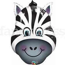 """14"""" demenziale Zebra Testa di animale Qualatex Stagnola Palloncino Festa A Forma Di Nuovo"""