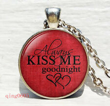 Vintage kiss me Words  Cabochon Tibetan silver Glass Chain Pendant Necklace